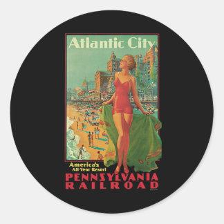 Vintage Reise, Atlantic City Runder Aufkleber