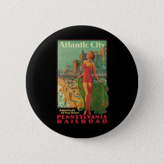 Vintage Reise, Atlantic City Runder Button 5,7 Cm
