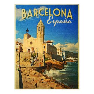Vintage Reise Barcelonas Spanien Postkarte
