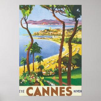 Vintage Reise-Cannes-Strand-Szene Poster
