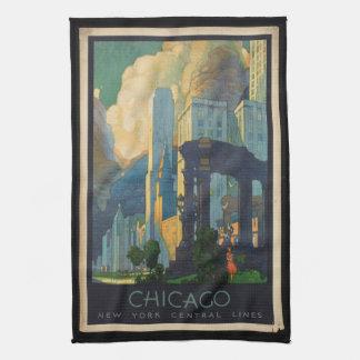Vintage Reise Chicago zu zentralen Linien New York Handtuch