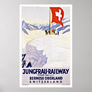 Vintage Reise die Schweiz durch Jungfrau Eisenbahn Poster