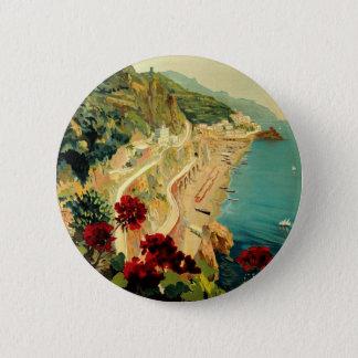 Vintage Reise, italienischer Küsten-Strand Amalfis Runder Button 5,1 Cm