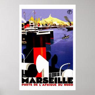 Vintage Reise Marseilles, Frankreich Poster
