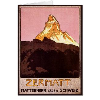 Vintage Reise, Matterhorn-Berg, die Schweiz Grußkarte