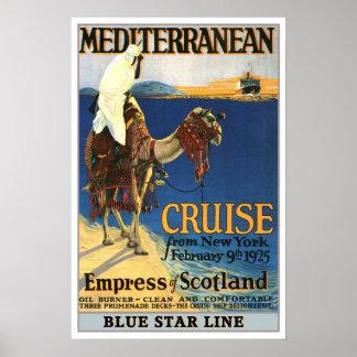 Vintage Reise, Mediteranian Kreuzfahrt Poster