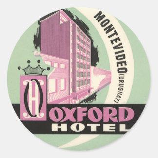Vintage Reise, Oxford-Hotel, Montevideo, Uruguay Runder Aufkleber