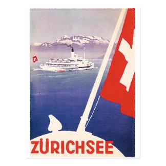Vintage Reise-Plakate: See Zürich die Schweiz Postkarte