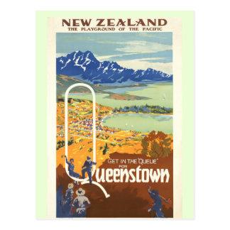 Vintage Reise Queenstowns, Neuseeland Postkarte