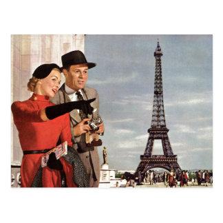 Vintage Reise - Retro Paris- - Eiffel-Turm Postkarte