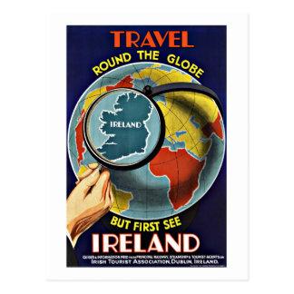 Vintage Reise ringsum die Kugel sehen Irland Postkarte