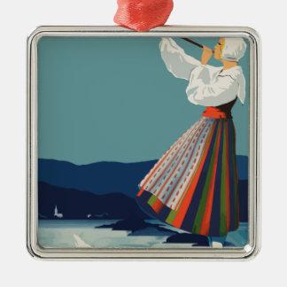 Vintage Reise Schweden Silbernes Ornament