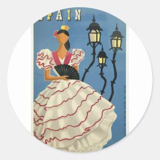 Vintage Reise Spanien Runder Aufkleber