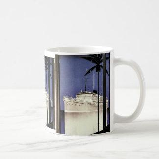 Vintage Reise-tropische Kreuzfahrt-Schiffs-und Kaffeetasse