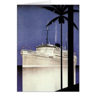 Vintage Reise-tropische Kreuzfahrt-Schiffs-und Karte