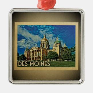 Vintage Reise-Verzierung Des Moines Iowa Silbernes Ornament