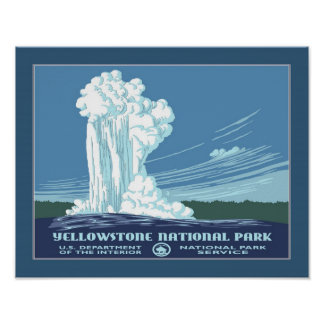 Vintage Reise Yellowstone WPA Poster