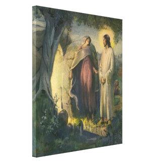 Vintage Religion, Jesus Christus erhöht um Grab Leinwanddruck