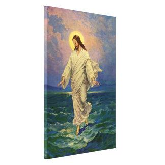 Vintage Religion, Jesus Christus geht auf Wasser Leinwanddruck