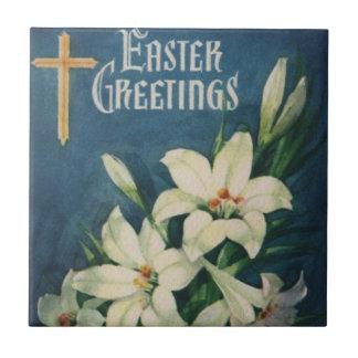 Vintage religiöse Ostern-Grüße mit Lilien Kleine Quadratische Fliese
