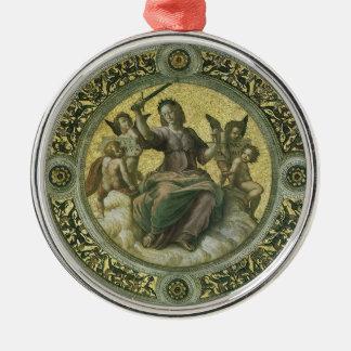 Vintage Renaissance-Kunst, Gerechtigkeit durch Silbernes Ornament