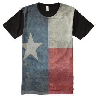 Vintage retro Art der Texas-Staatsflagge ganz über T-Shirt Mit Bedruckbarer Vorderseite