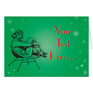 Vintage Retro Clipart weibliche Dame Sitting Chair Karte