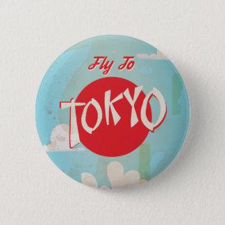 Vintage Retro Fliege zum Tokyo-Reise-Plakat Runder Button 5,7 Cm