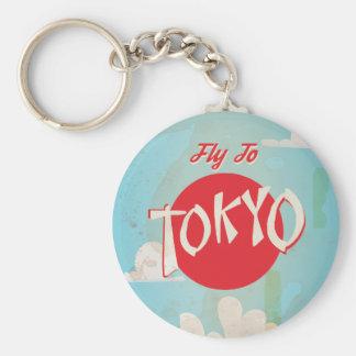 Vintage Retro Fliege zum Tokyo-Reise-Plakat Schlüsselanhänger