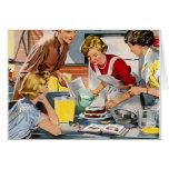 Vintage Retro Frauen-Anzeige ließ uns einen Kuchen Karte