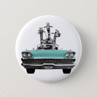Vintage Retro Gesang-Giraffen Auto-Straße Trip_ Runder Button 5,7 Cm