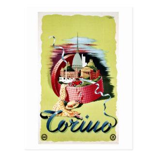 Vintage retro italienische Reiseanzeige Turins Postkarte