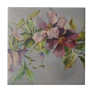 Vintage Retro lila Iris-Postkarte Kleine Quadratische Fliese