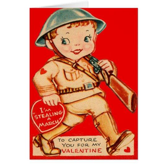 Vintage Retro marschierende Soldatvalentine-Karte Grußkarte