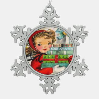 Vintage retro schneeflocken Zinn-Ornament