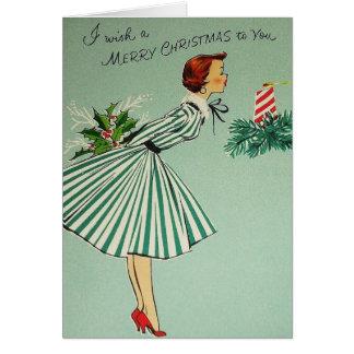 Vintage Retro Weihnachtsgruß-Karte Karte