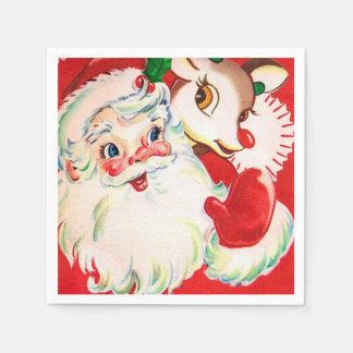 Vintage retro Weihnachtssankt-Renservietten Papierserviette