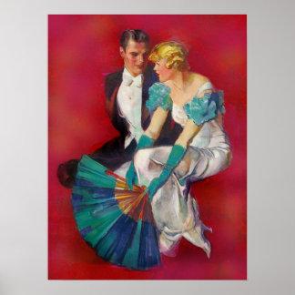 Vintage Romance Paare im Abends-Kleid mit Fan Poster