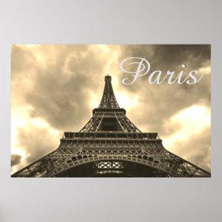 Vintage romantische Liebe Sepia-Eiffel-Turm-Paris Poster