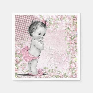 Vintage rosa Baby-Dusche Papierservietten