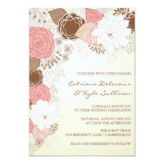 Vintage rosa Blumen-Frühlings-Hochzeits-Einladung 12,7 X 17,8 Cm Einladungskarte
