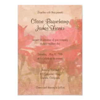 Vintage rosa Blumenhochzeit 12,7 X 17,8 Cm Einladungskarte