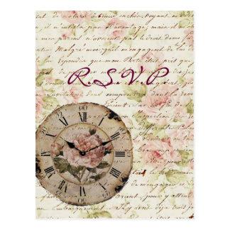 Vintage rosa Rose Blumensteampunk Hochzeit UAWG Postkarte
