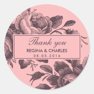 Vintage rosa Rosen-Hochzeit danken Ihnen Aufkleber