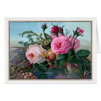 Vintage rosa Rosen Karte
