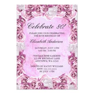 Vintage rosa Rosen und Feder-80. Geburtstag 12,7 X 17,8 Cm Einladungskarte