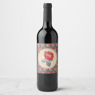 Vintage rosa Rosen und Hahnentrittmustermuster Weinetikett