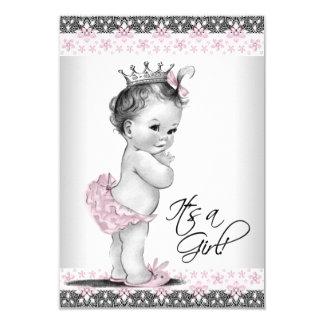 Vintage rosa und graue Baby-Mädchen-Dusche 8,9 X 12,7 Cm Einladungskarte