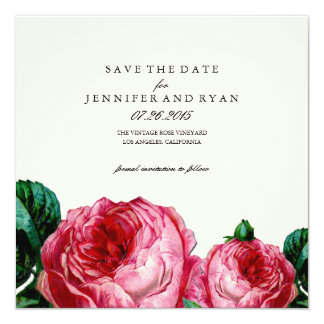Vintage Rose Save the Date Quadratische 13,3 Cm Einladungskarte