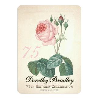 Vintage Rosen-75. Geburtstags-Feier-Gewohnheit 12,7 X 17,8 Cm Einladungskarte